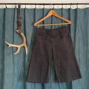 Pants - Grey 3/4 Length Double Breasted Capris